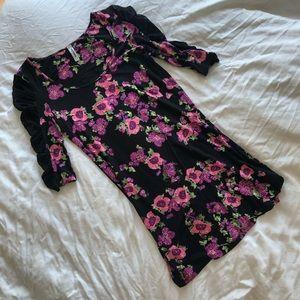 Free People black & pink floral & lace sleeves - M